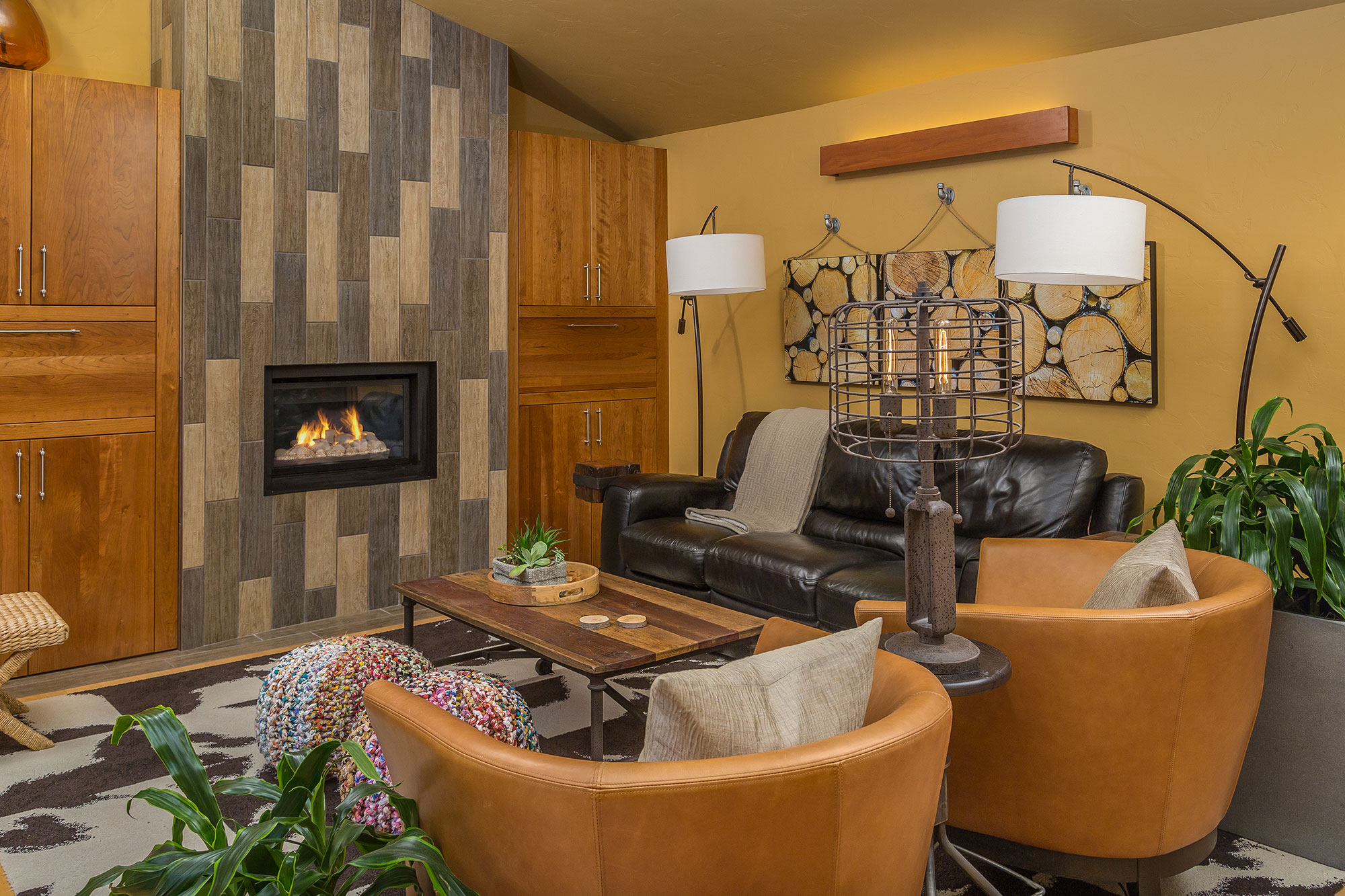 Sears living room and fireplace